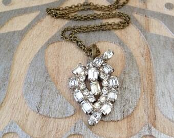 Repurposed rhinestone brooch necklace, Downton Abbey necklace, assemblage, paste, mixed metal, rustic, OOAK, vintage wedding, vintage bridal