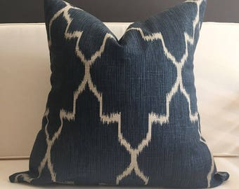 Pillow Cover, Navy Blue Ikat Pillow Cover, PORTER