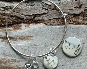 Cute But Crazy Personalized Adjustable Wire Bangle Bracelet