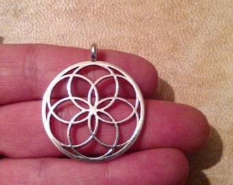 Sacred geometry pendant. Seed of life pendant. Silver plated  seed of life pendant. 30mm seed of life charm.