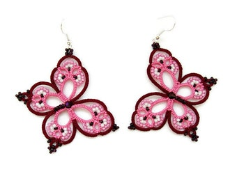 "Pink and red wine earrings ""Rainbow Butterfly"", tatted earrings, tatting jewellery, tatting lace earrings,  summer earrings, dangle earrings"