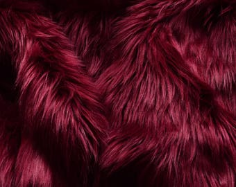 Burgundy Fur Fabric Craft Squares FREE SHIPPING- Dark Red Faux Fur, Wine Color Fake Fur, Burgundy Craft Fur, Deep Red Fur, Maroon Fur