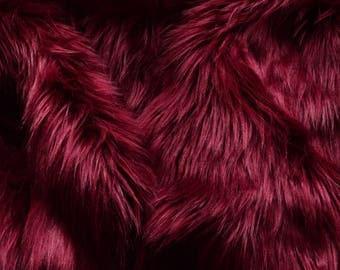 Burgundy Fur Fabric Craft Squares FREE SHIPPING- Dark Red Faux Fur, Wine Color Fake Fur, Burgundy Craft Fur, Deep Red Fur, Maroon Fur