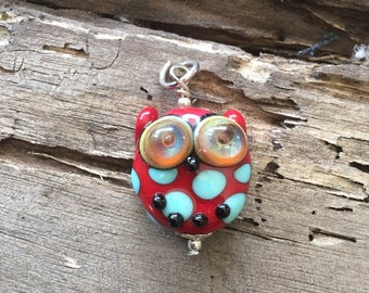 Handmade lampwork owl pendant red/blue