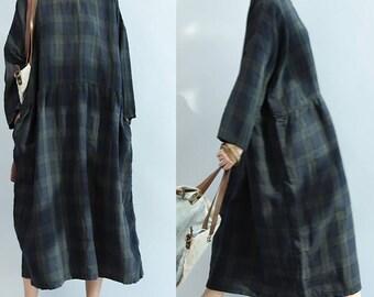 women loose dress/women linen dress/women vintage dress/women comfortable dress/women long dress/women linen long dress/QZ03D1535