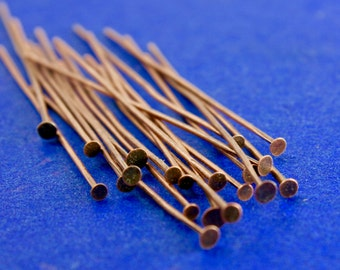 "50 pcs -Antique Copper Head Pins 50mm (2"") long, 0.7mm (21 gauge), AC-B03591-8S"
