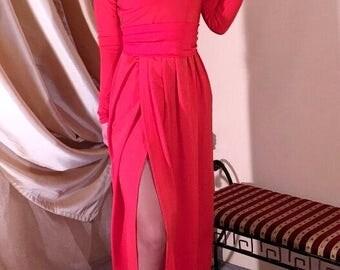 Red Maxi Women's Dress V- Neck Long Sleeves High Slit Sash
