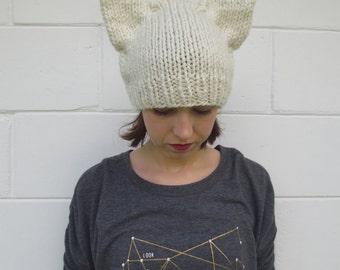SALE - cat ear beanie - ivory knit cat ear beanie - neko hat - neko ears