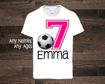 Soccer Girl Birthday Shirt Personalized Custom Age Name Soccer Party little girl sports