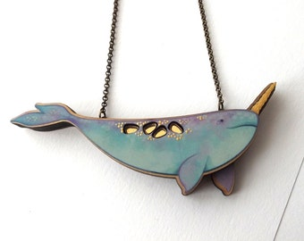 Laser Cut Pastel Narwhal Statement Necklace - illustrated layered wood with gold details - Mermaid Whale Sea Unicorn Narwhal Jewelry Gift