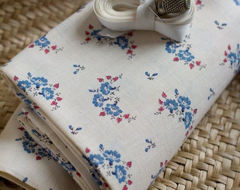 Sweet French Printed Blue Flower Fabric