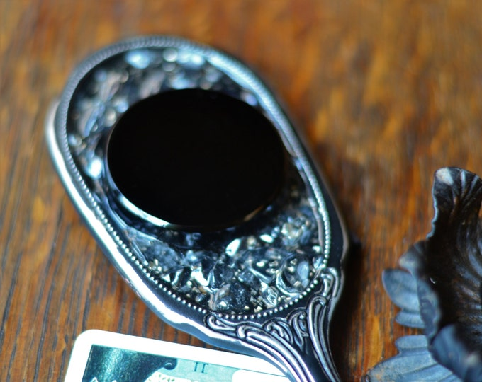 GOTHIC OBSIDIAN MIRROR, 2 inch Osbidian scrying mirror set in Orgonite resin with clear crystal quartz and silver shavings