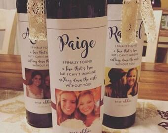Wine Bottle Labels   Wine Bottle Labels Bridesmaids   Printable Wine Labels   Bridesmaid Gift   Bridesmaid Proposal   DIGITAL PRINTABLE!