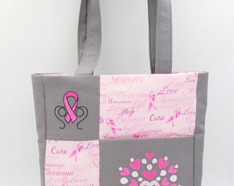 Breast Cancer Awareness Purse, Breast Cancer Awareness Tote, Breast Cancer Awareness Bag, Breast Cancer Tote