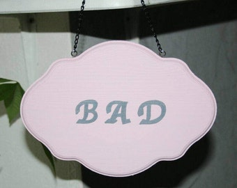 Wooden sign, pink, bath, with chain, sign with chain