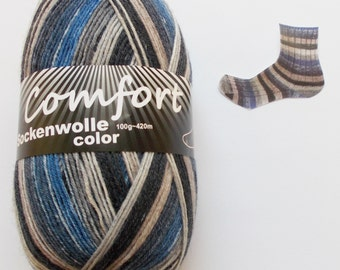 sock yarn 100g (6,-Euro/100g), blue-gray, 4ply (1116b.06)