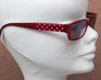 Vintage Chanel Quilted Red and Rhinestone Sunglasses - Chanel Eyewear