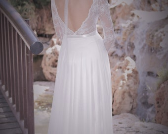 Emma - Romantic wedding dress with long lace sleeves and chiffon skirt, boho wedding dress, backless  wedding dress, beach wedding dress