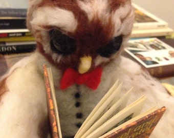 Needle felted Owl - Hector the book reading Owl