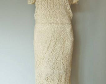 Early 1930s, Drop Waist, Ivory Lace Dress, Garbo Style