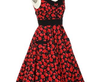 Floral Dress Summer Dress Red Poppy Dress Festive Holiday Dress Plus Size Dress Party Dress 50s Tea Dress Swing Dress Vintage Style Dress