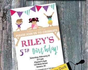 Gymnastics Birthday Invitation | Gymnastics Invite | Tumble Birthday | Kid Birthday Party Invitation | DIGITAL FILE ONLY