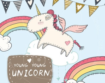 Kawaii Unicorn Clipart, Cute Unicorns Clip Art, Commercial Use, Sewing, Scrapbooking, Stickers, Rainbow Clipart