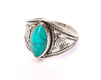 Sterling SilverTurquoise Gemstone Handmade Boho Ring Gift Boxed , Free UK Delivery ST1
