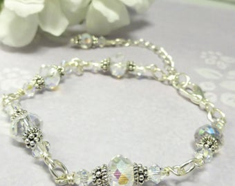 Swarovski Crystal Silver Bracelet, Wedding Jewelry for Bride, Bridal Jewellery, Gift for Her,  Bridesmaid, Mother of the Bride, Birthday