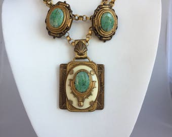 1993 Vintage Patrice Designs Egyptian Revival Necklace Earring Jewelry Set 24k Gold Plated Brass, Vintage Patrice Necklace Earrings