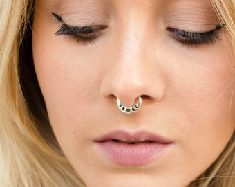 Moon Phases Septum Ring Nose Ring Body Jewelry Sterling Silver Bohemian Fashion Indian Style 14g 16g - SE041R SSO T1 M11