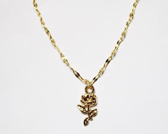 Gold Rose Choker - Gold Necklace - Gold Chain Choker - Gold Chain Necklace - Gold Choker - Rose Choker - Rose Necklace  - Chain Choker