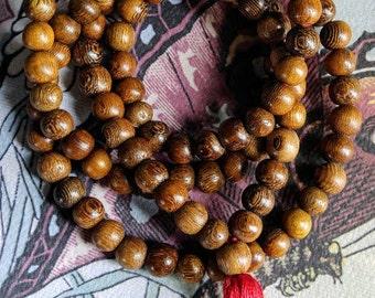108 Wood Bead Mala, Mala Beads, Prayer Beads, Handmade, Jewelry, Necklace