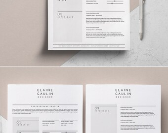 simple resume template etsy