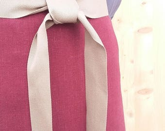apron - cherry red linen