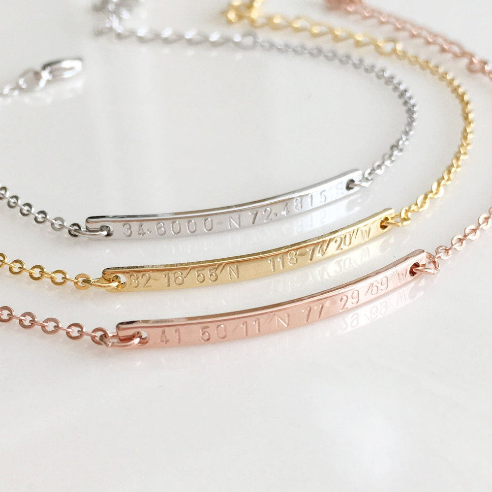airy dainty gps coordinates bracelet gold bar by