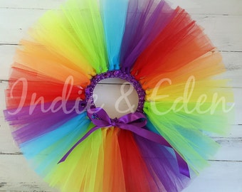 Rainbow Tutu for girls birthday photo prop cake smash baby toddler skirt