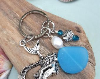 Mermaid Jewels Keychain - Mermaid Key Chain - Mermaid Purse Accent - Mermaid Vibes - Mermaid Accessory - Sea Glass - Mermaid Gifts - Beach
