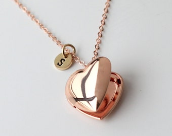 locket necklace, rose gold heart Locket Necklace, gift for lover, gift for mom, Valentine's Day gift, Mother's Day gift, family necklace
