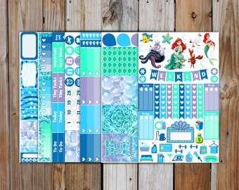 Planner Sticker Kit | Little Mermaid Deluxe Weekly Sticker Kit (7 pgs) | for use with ERIN CONDREN LifePlanner