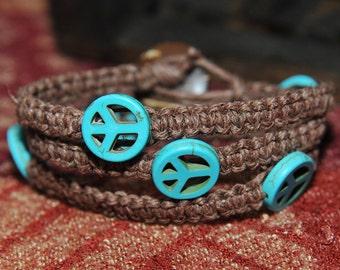 Peace Wrap Hemp Bracelet