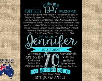 Printable 70th Birthday Invitation 1947