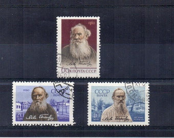 Tolstoy Russia 1960 50th Death Anniversary of Tolstoy. Russian used postage stamps, vintage set. Crafts, framing, collecting, scan enlarged.