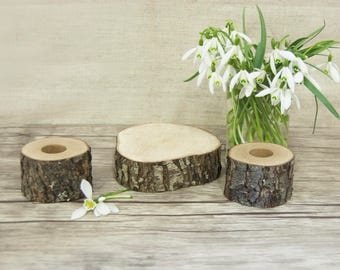 Unity Candle Holder Set, Rustic Wedding Decor, Taper and Cylinder Candle Holders Set of 3, Autumn Wedding, Woodland Country Wedding Decor