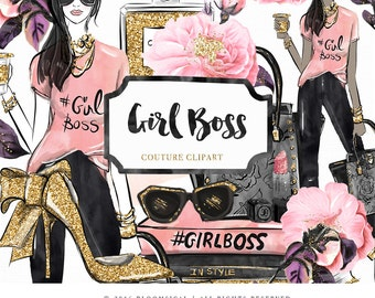 Girl Boss Clip Art | Fashion Illustration Glam Woman books hand bag make up Graphics | Planner Stickers, Planner Girl | Digital Cliparts