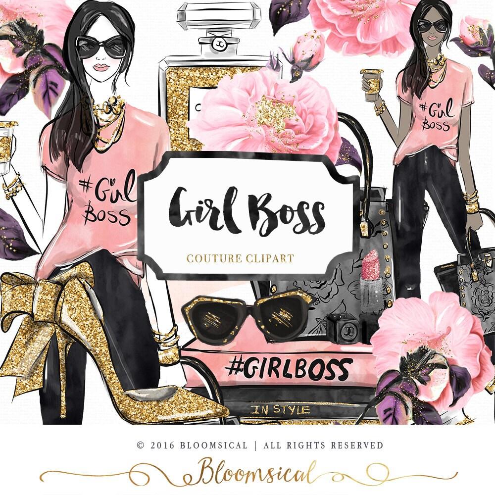Girl Boss Book Quotes: Girl Boss Clip Art Fashion Illustration Glam Woman Books