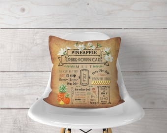 Pineapple Upside Down Cake Recipe Pillow Cover, Home Decor, Housewarming Gift, Mother's Day Gift