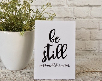 Be Still And Know That I Am God Sign, Bible Verse Sign, Small Sign, Scripture Verse, Inspirational Quote, Inspirational Word Sign