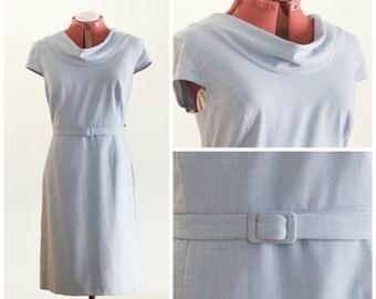 Light blue belted cowl neck sheath dress