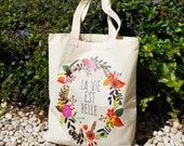 Tragetasche Jutebeutel mit Blumen, Stoffbeutel mit Spruch, Einkaufstasche aus Bio Baumwolle, Jutebeutel Französisch, Tote Bag